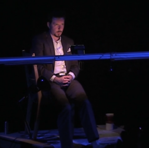 Thaddeus Phillips during the performance of 17 Border Crossings
